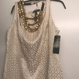 😱New Dress by Ralph Lauren gold and white👗 SZ 16